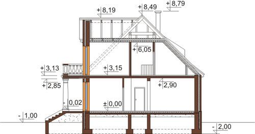 Projekt domu DM-6513 - przekrój