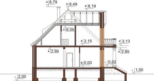 Projekt domu L-6513 - przekrój