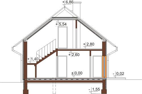 Projekt domu L-6515 - przekrój