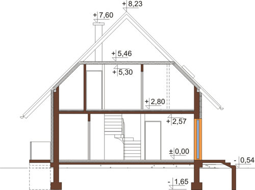 Projekt domu L-6517 - przekrój