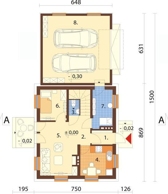 Projekt domu DM-6518 - rzut