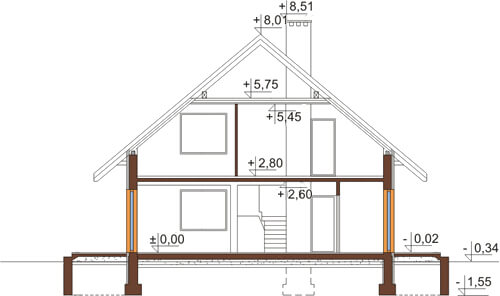 Projekt domu L-6519 - przekrój