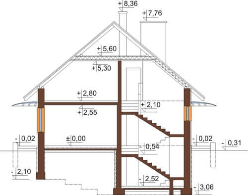 Projekt domu DM-6520 - przekrój