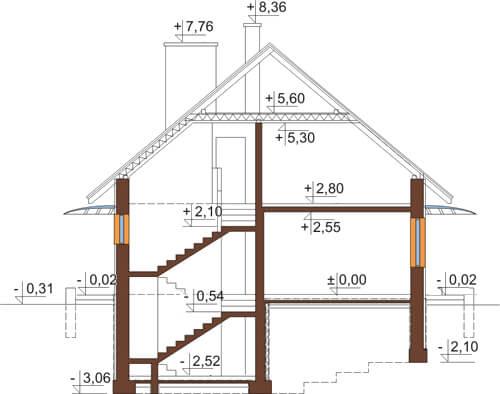 Projekt domu L-6520 - przekrój
