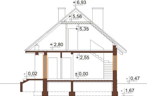 Projekt domu L-6521 - przekrój