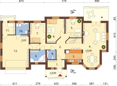Projekt domu DM-5508 N - rzut