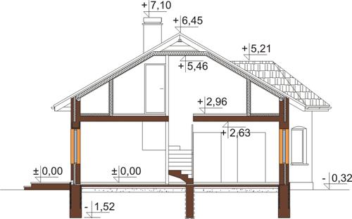 Projekt domu DM-5508 N - przekrój