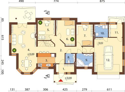 Projekt domu L-5508 N - rzut