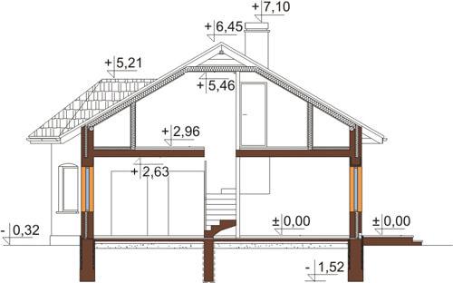 Projekt domu L-5508 N - przekrój