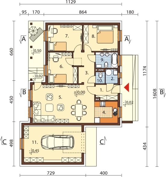 Projekt domu DM-5538 N - rzut