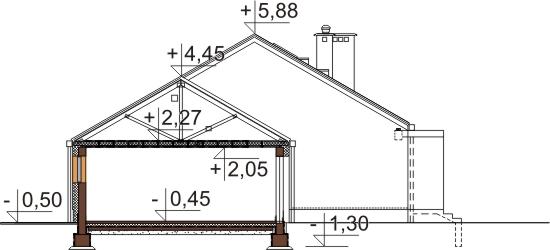 Projekt domu DM-5538 N - przekrój