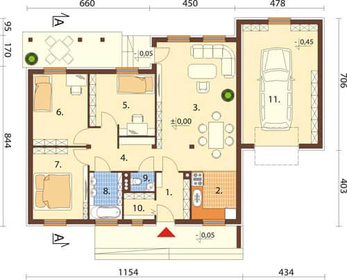 Projekt domu L-5538 N - rzut