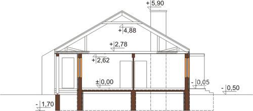 Projekt domu L-5538 N - przekrój
