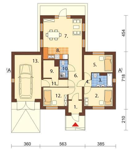 Projekt domu DM-6018 N - rzut