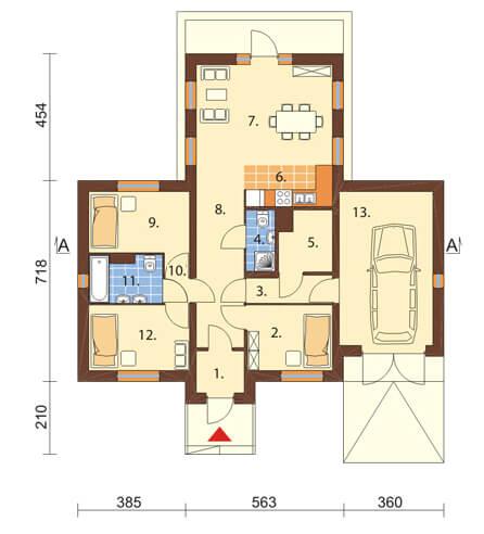 Projekt domu L-6018 N - rzut