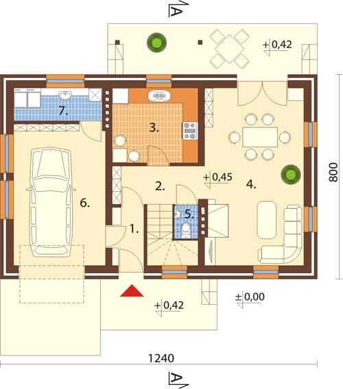 Projekt domu DM-6083 N - rzut