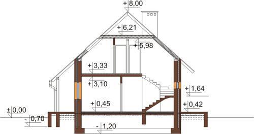 Projekt domu DM-6083 N - przekrój