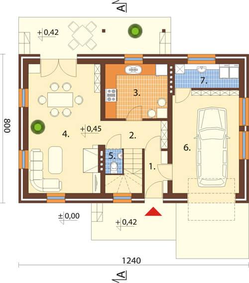 Projekt domu L-6083 N - rzut