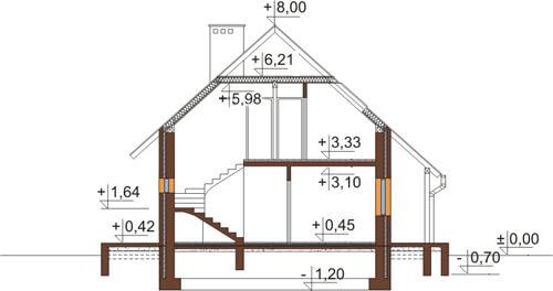 Projekt domu L-6083 N - przekrój