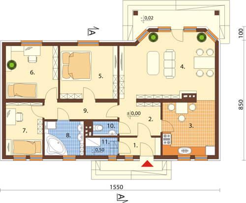 Projekt domu DM-6087 N - rzut