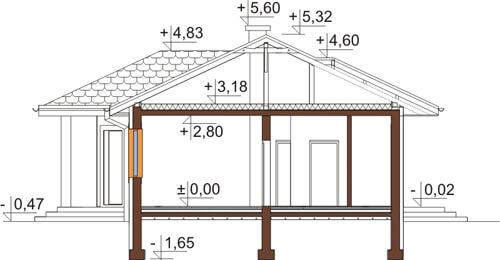 Projekt domu DM-6087 N - przekrój