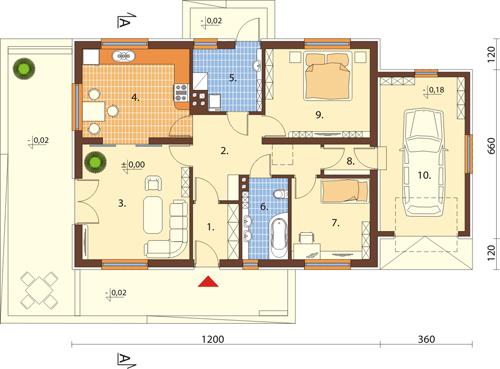 Projekt domu DM-6498 N - rzut