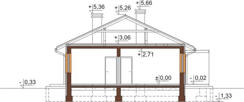 Projekt domu DM-6498 N - przekrój