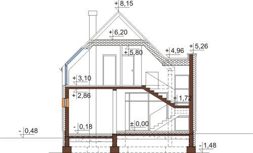 Projekt domu DM-6509 - przekrój
