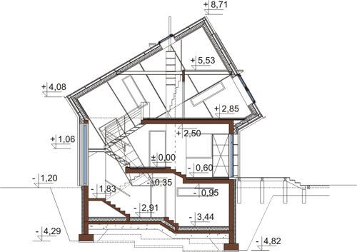 Projekt domu DM-6507 - przekrój