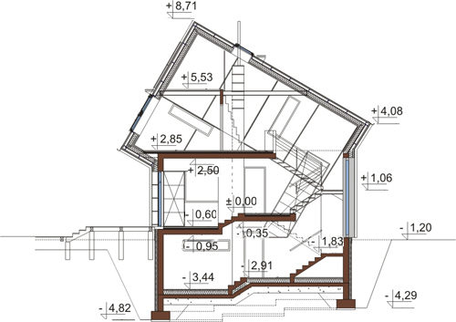 Projekt domu L-6507 - przekrój