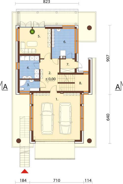 Projekt domu DM-6505 - rzut