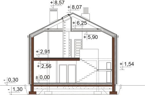 Projekt domu DM-6505 - przekrój