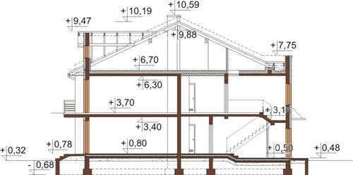 Projekt domu L-6502 - przekrój