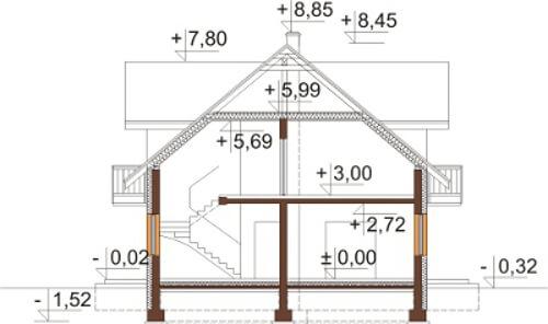 Projekt domu L-6531 - przekrój