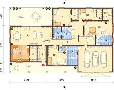 Projekt domu DM-6532 - rzut