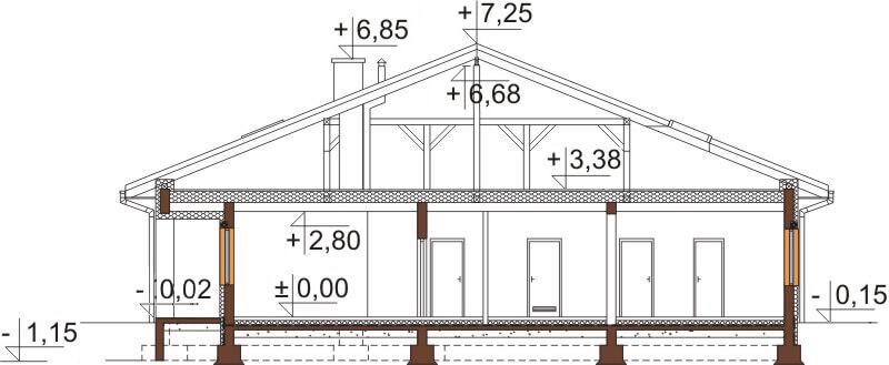Projekt domu L-6532 - przekrój