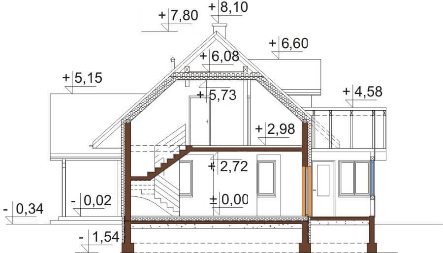 Projekt domu L-6533 - przekrój