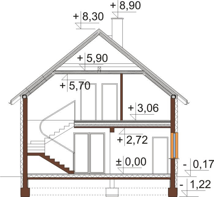 Projekt domu DM-6534 - przekrój