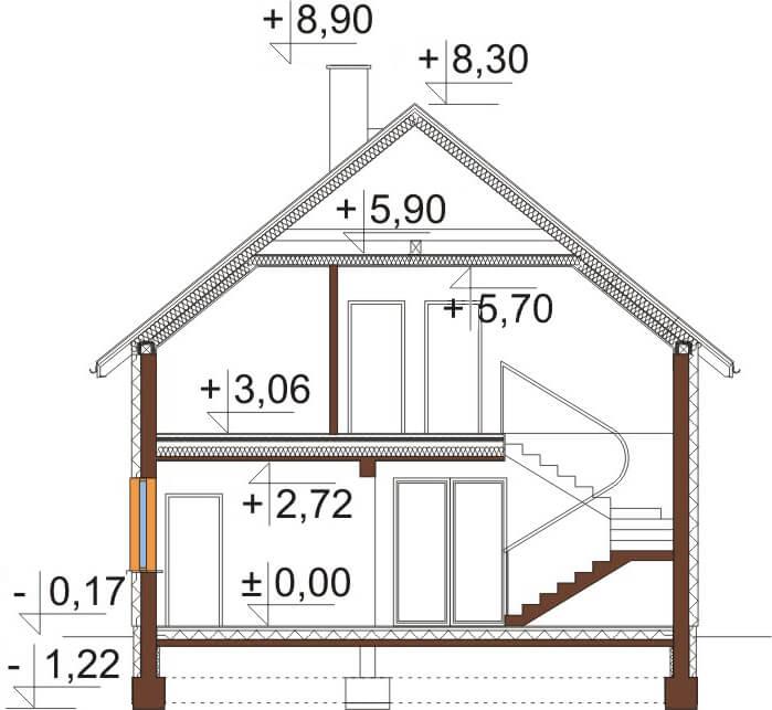 Projekt domu L-6534 - przekrój