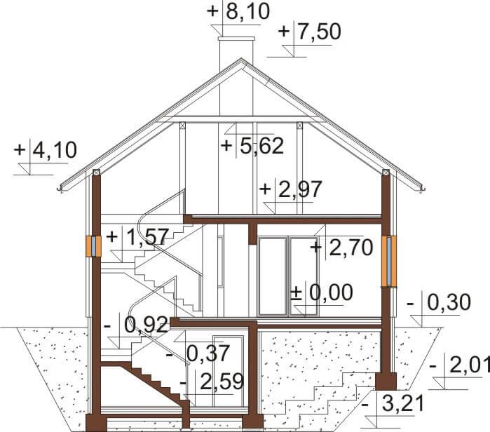 Projekt domu DM-6536 - przekrój