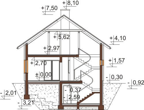 Projekt domu L-6536 - przekrój