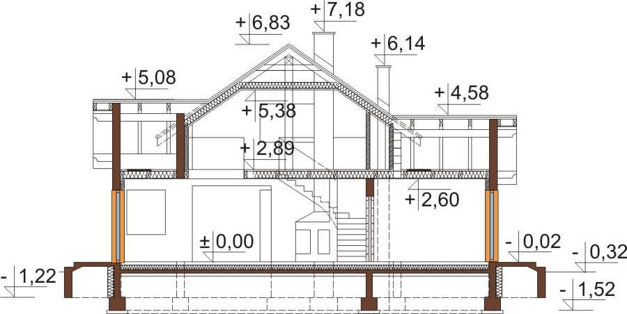 Projekt domu DM-6538 - przekrój