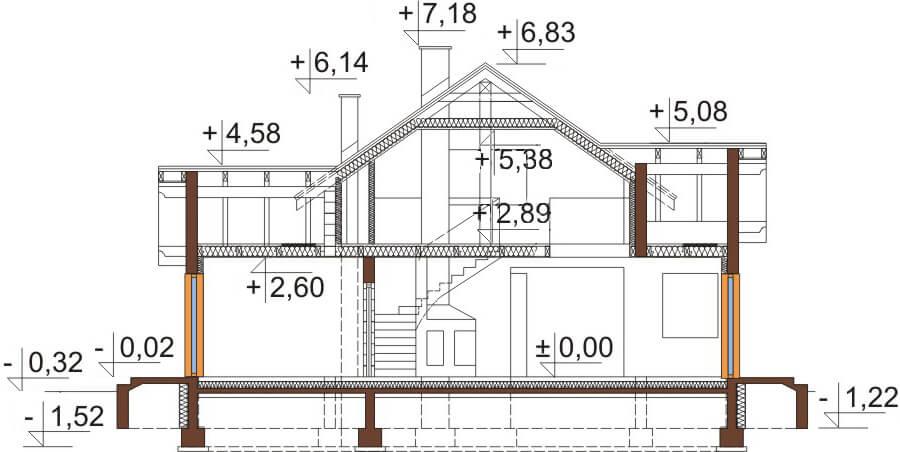 Projekt domu L-6538 - przekrój