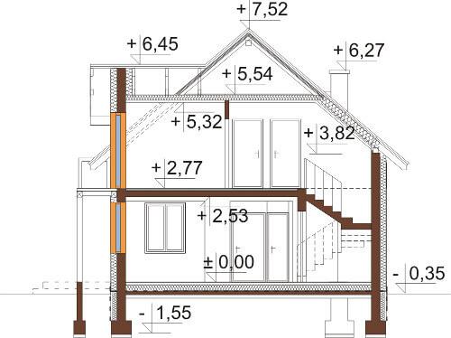 Projekt domu DM-6539 - przekrój