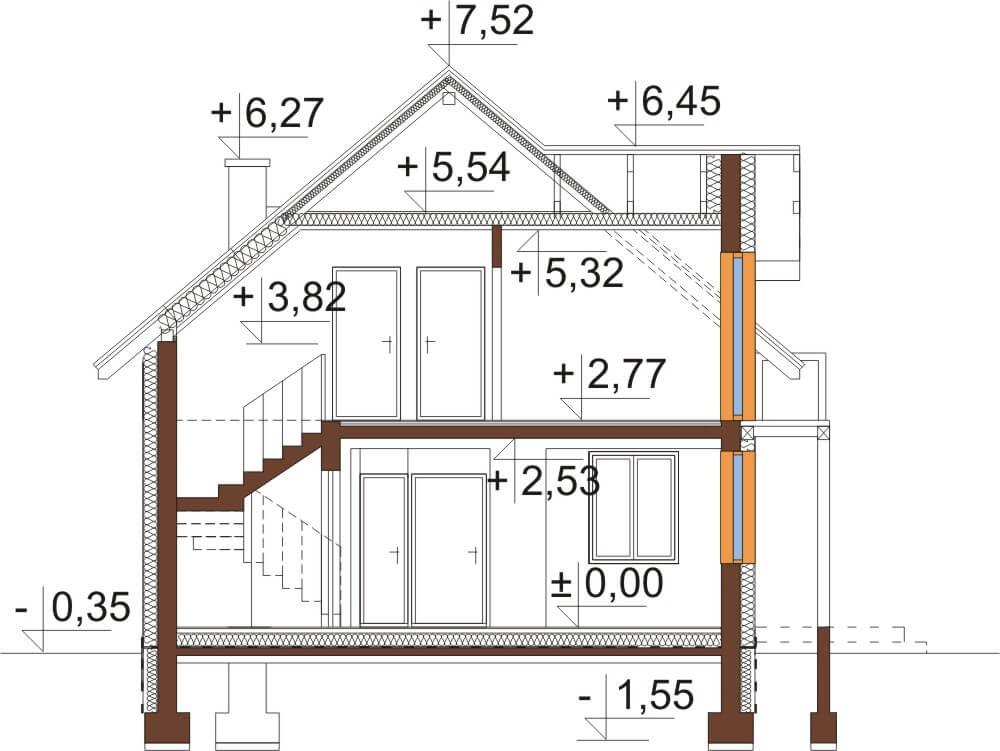 Projekt domu L-6539 - przekrój