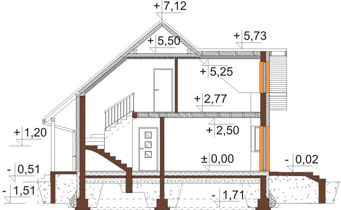 Projekt domu L-6541 - przekrój