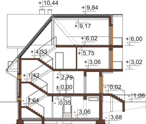Projekt domu DM-6551 - przekrój