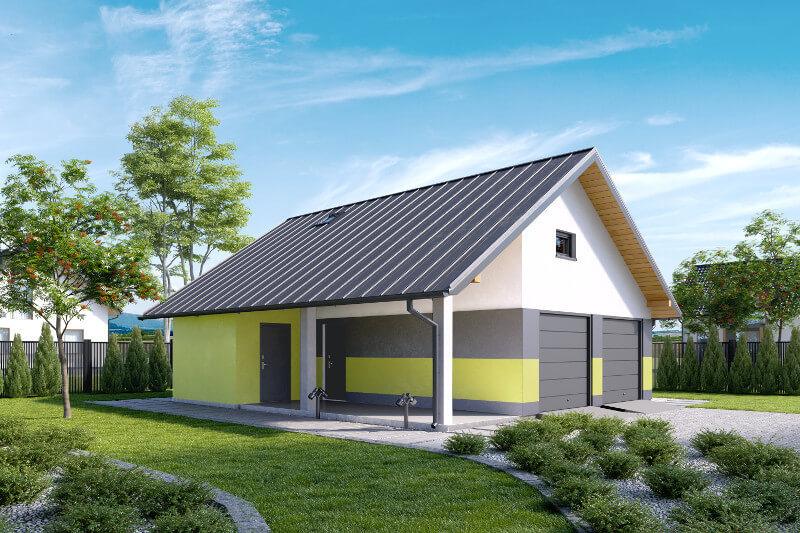 Projekty garaży z poddaszem dwustanowiskowych