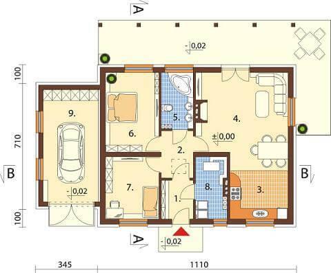 Projekt domu DM-6546 - rzut