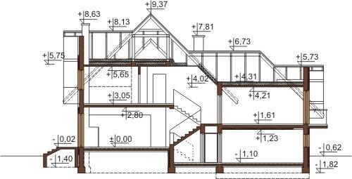 Projekt domu DM-6571 - przekrój